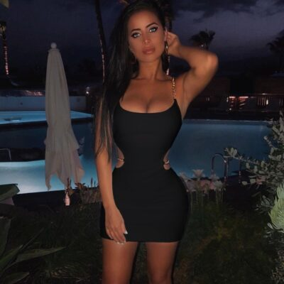 Sleeveless Hollow Out Chained Mini Dress