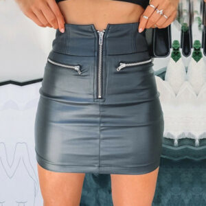 Sexy PU Leather High Waist Pencil Skirt For Office