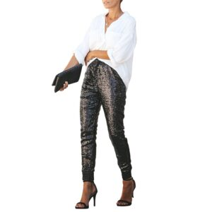 Fashion Sequin Pencil Pants PU Leather Lady Trousers