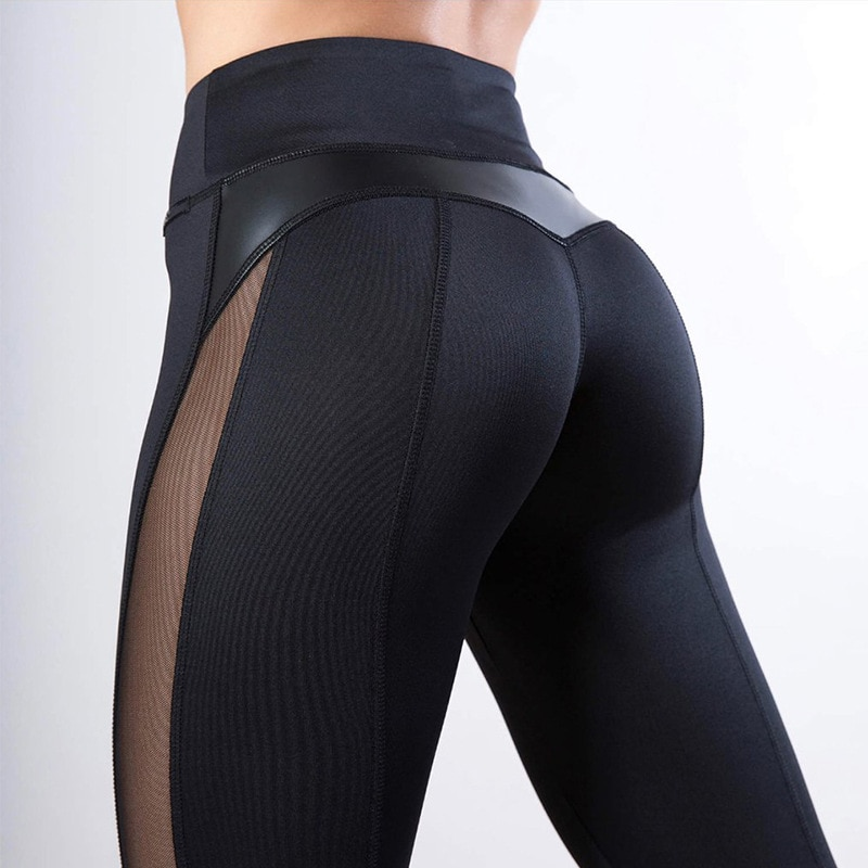 High Waist Heart Workout Mesh and PU Leather Fitness Leggings