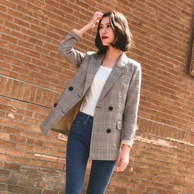 Double Breasted Vintage Plaid Blazer Jacket Retro Suit Coat High Quality Outerwear