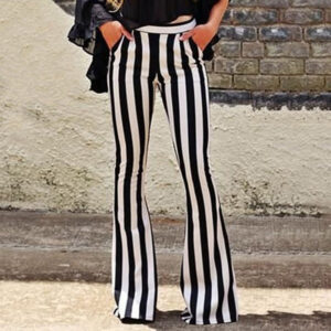 Loose Black Vertical Striped Wide Leg Pants Bell Bottoms Flare Trousers