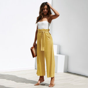 Casual Cotton Linen High Waist Wide Leg Pants Loose Palazzo Summer Trousers