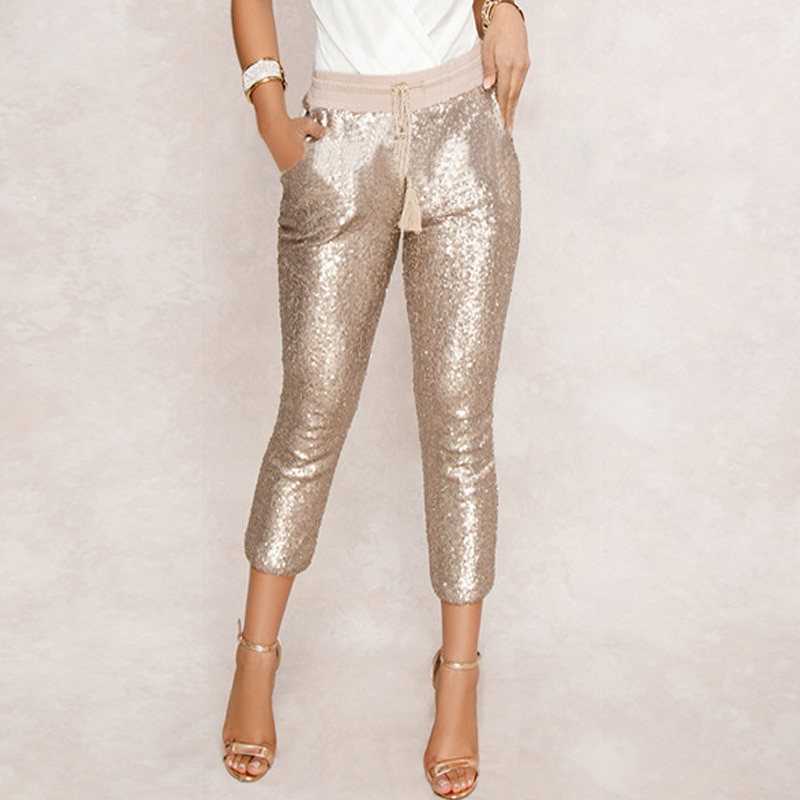 Sequin Pencil Pants Drawstring Bling Party Nightclub Calf-Length Trousers