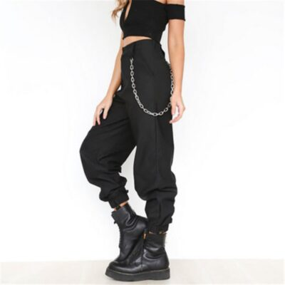 Plus Size Casual Elastic Waist Cargo Pants Loose Solid Trousers