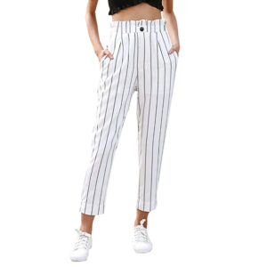Striped Slim Straight Leg Casual Button Pants With Pockets Trousers