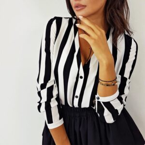 Casual Striped Shirt Loose Office Blouse