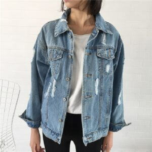 Denim Jacket For Women Loose Fit Casual Style Jeans Coat