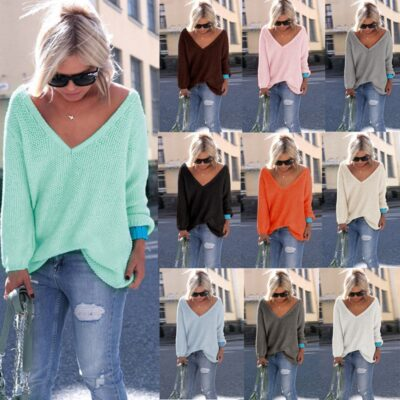 Warm Pullover V-Neck Long Sleeve Loose Knitted Sweater