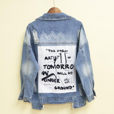 Denim Jacket Ripped Holes Patchwork BF Style Jean Coat