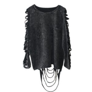 European Punk Style Hollow Out And Tassel Women Designer Blouse