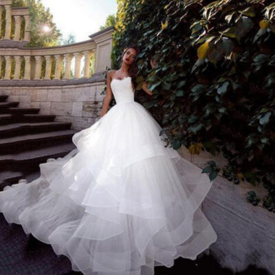 Tulle Corset Bridal Gown Lace-Up Back Luxury Wedding Dress