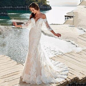 Mermaid Off Shoulder Lace Wedding Gown Backless Tulle Appliques Bride Dress