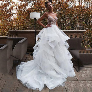 V-Neck Fold Tulle Bridal Gown Wedding Dress With Bead