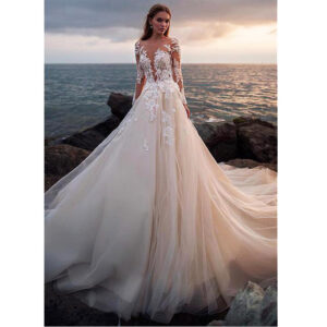 Illusion Full Sleeve Luxury Wedding Gown Button Backless Lace Customized Bridal Dress