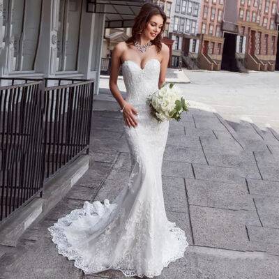Mermaid Strapless Lace Wedding Gown Backless Bride Dress