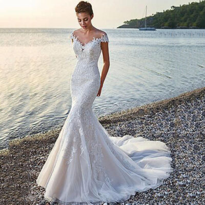 Mermaid Lace Appliques Princess Wedding Dress Backless Tull Bridal Gown