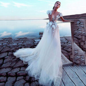 Luxury Tulle A-Line Bridal Gown 3D Lace Flowers Beach Fairy Wedding Dress