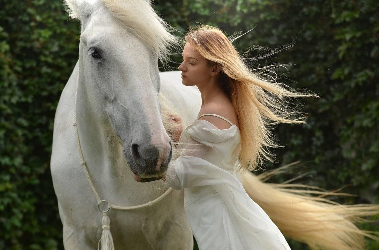 girl, daydreaming, horse