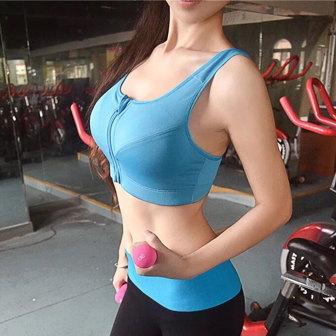 High Quality Zipper Sports Bras Push Up Tops Breathable Fitness Run Gym Yoga