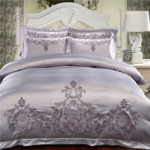 Silver Cotton Embroidery Bedding Sets Duvet Cover Bed Sheet Pillowcase