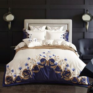 Chic Blue Embroidered Bedding Set Egyptian Cotton Soft White Bed Set