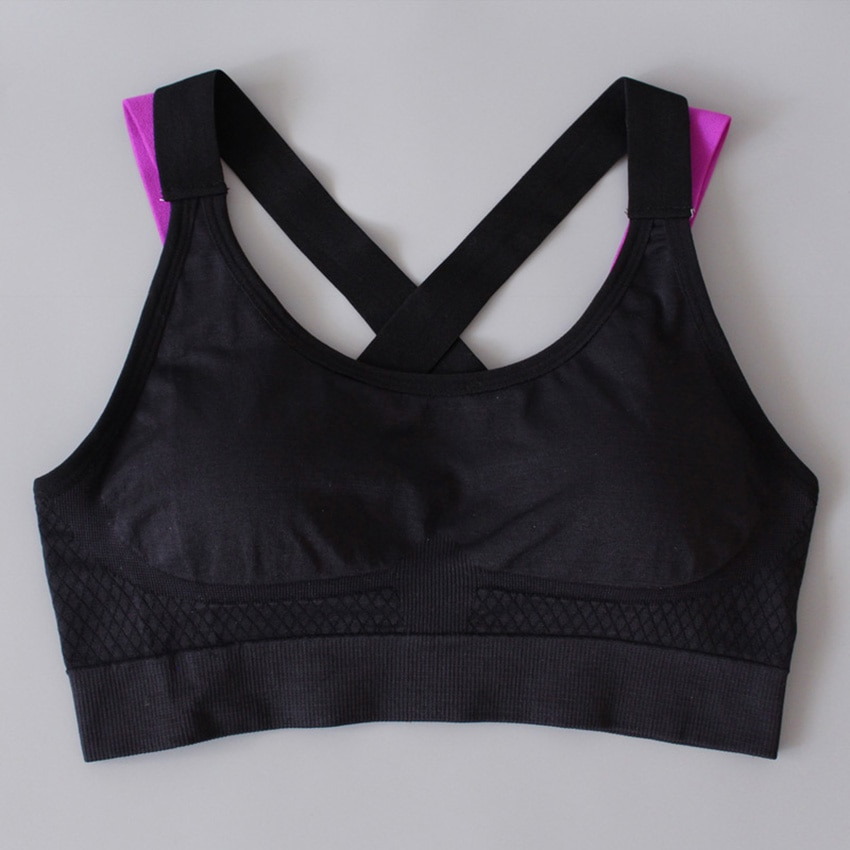 Sports Bra For Fitness Push Up Cross Straps Yoga Running Gym Active Padded Top