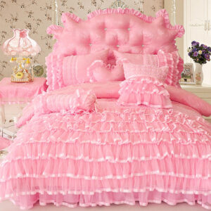 Princess Style Twin Queen King Size Pink Cream Bedding Set