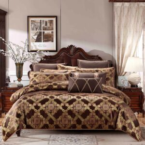 Brown Coffee Jacquard Cotton Stain Bed Duvet Cover Bed Sheet Set