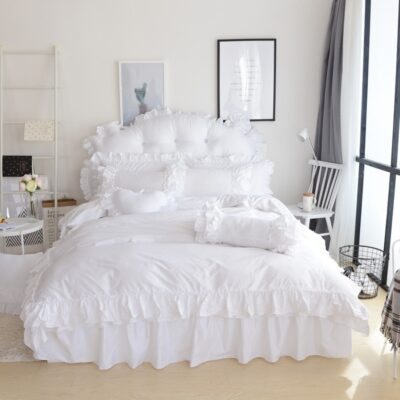Pure White Color Princess King Queen Twin Women Girls Bedding Set