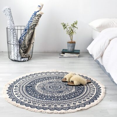 Round Boho Rug With Tassel Cotton Woven Carpet For Living Room