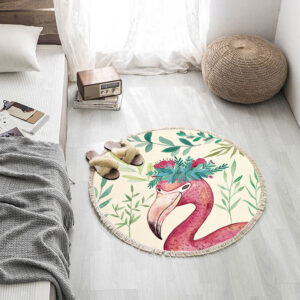 Printed Flamingo Round Carpets With Tassel Chair Area Rug Floor Mat