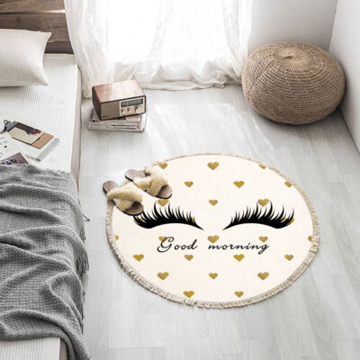 Eyelashes Bedroom Carpets With Tassel Modern Round Home Rugs Three Size