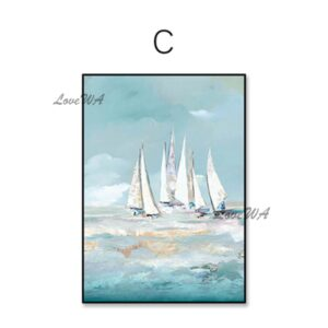 Handmade Colored Sea Boat Oil Painting On Canvas Home Decoration
