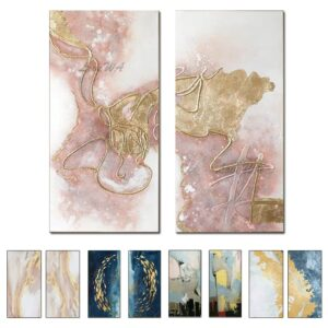 Large 2 Pcs Handmade Oil Painting On Canvas Home Wall Art Decoration