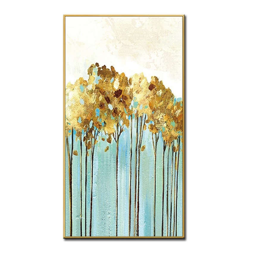 Handmade Oil Painting White Gray Gold Cute Decoration Canvas