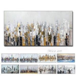 City Building Handmade Oil Paintings On Canvas For Decoration