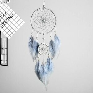 2 Ring Indian Feather Dream Catcher Hanging Art Valentine's Day Gifts