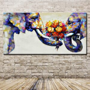 Hand Painted Animal Family Oil Paintings On Canvas For Decoration