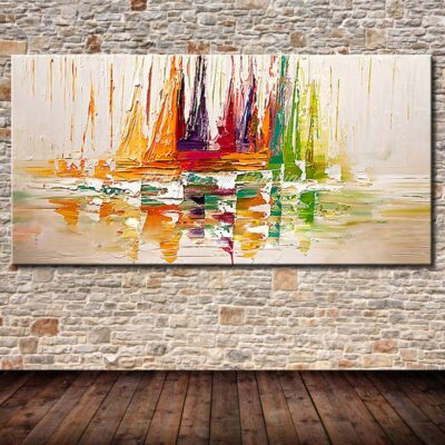 Ship Boats Sailing Handmade Canvas Oil Paintings Decor For Living Room