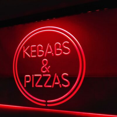 Kebabs & Pizzas Pizza Cafe LED Neon Light Sign Home Decor Crafts
