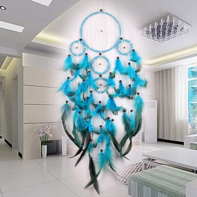 Handmade Dream Catcher With Rattan Bead Feathers Decoration Ornament
