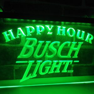 Busch Light Beer Happy Hour Bar LED Neon Light Sign Home Decor Crafts