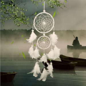 Handmade Girl Heart Dream Catcher With Feathers Ornament Room Decor
