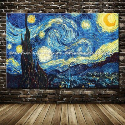 Hand Painted Famous Van Gogh Starry Sky Oil Painting On Canvas
