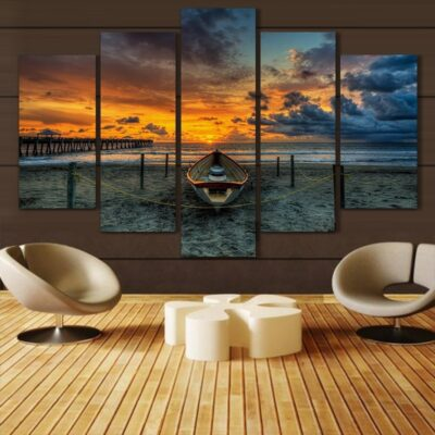 Sunset Beach Landscape Oil Painting Print On Canvas For Home Decoration (Color as picture)