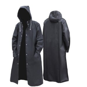 Black Adult Waterproof Unisex Hooded Raincoat for Travel and Cycling