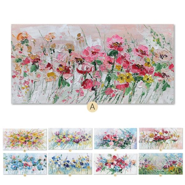 Frameless Handmade Pink Flowers Oil Painting On Canvas For Decoration