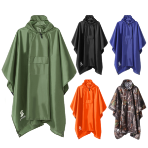 3 In 1 Waterproof Hooded Rain Poncho Adults Unisex Raincoat For Outdoor